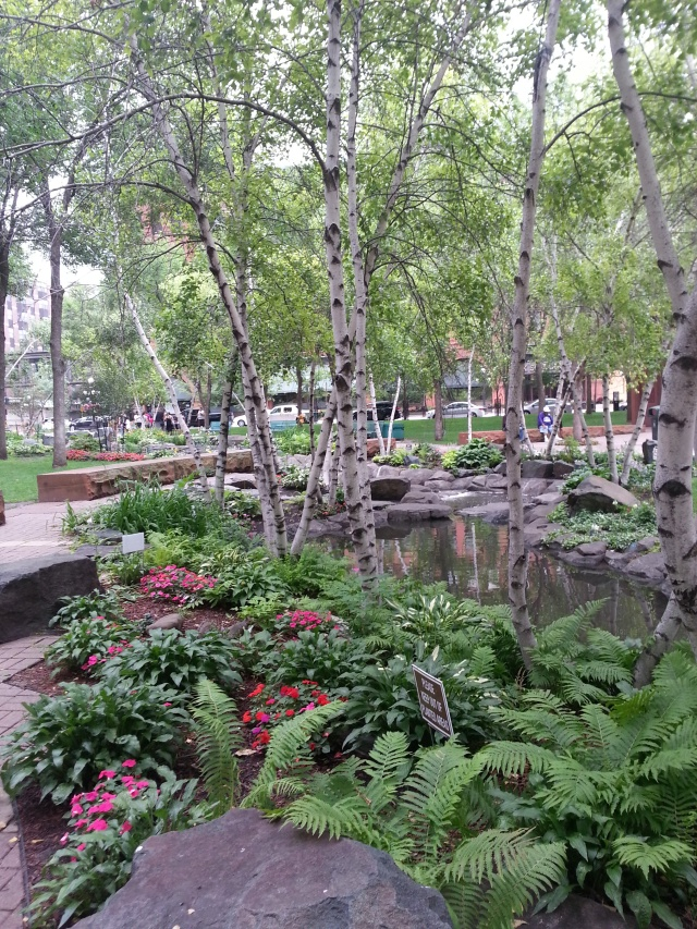 Mears Park offers an aesthetic and natural respite from the downtown St. Paul's urban setting