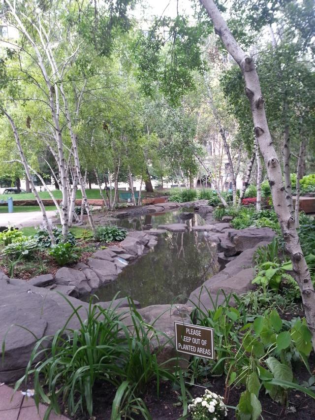 A calming water feature runs through the park.
