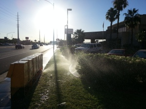 Sprinklers running in the middle of a historic drought in California and Nevada