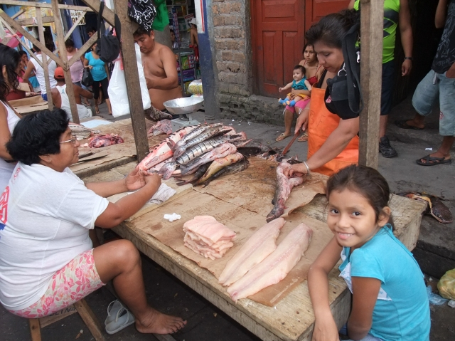 Little girl hanging out with the family at their fish stall