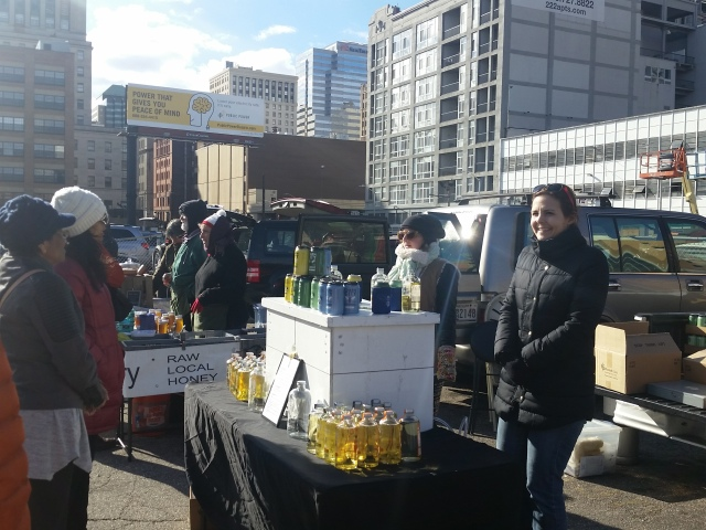 Speciality producer selling mead at a makeshift stall in the Baltimore Farmer's Market