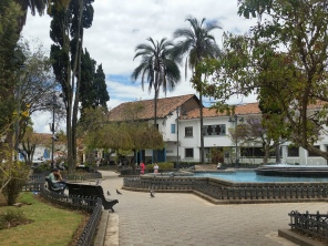 One of the main plazas next to a church in Cuenca