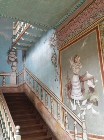 Interior mural and detail of the Casa de Palomas, now a government office on Benigno Malo Street